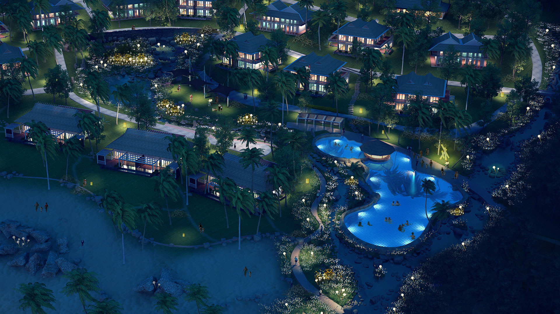 Phối cảnh đêm - Eden Landscape thiết kế cảnh quan Sơn Trà Resort