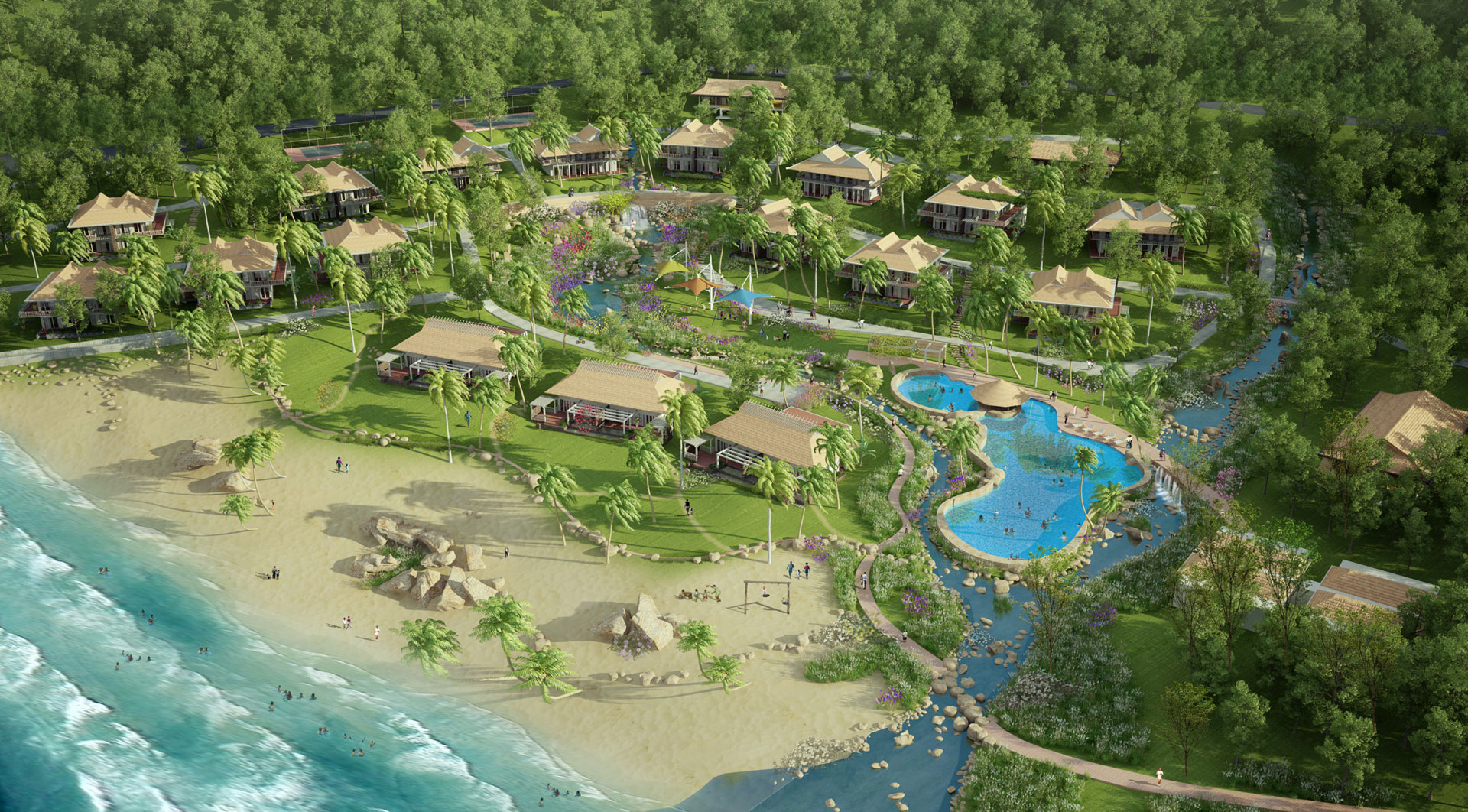 The project has steep terrains, and this creates convenient conditions for the construction of the resort, spa and villas