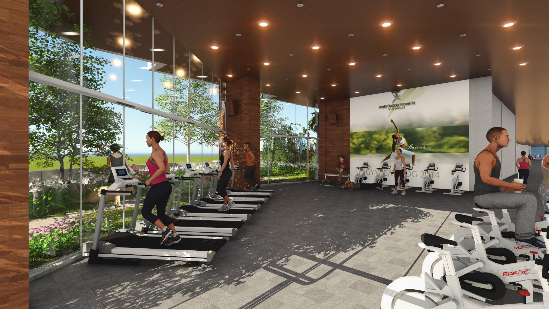 Phòng tập gym có view rất đẹp ra cảnh quan bên ngoài